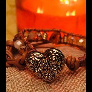 Leather Wrap Bracelet with Genuine Amber